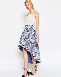 Asos Prom Skirt In Floral Jacquard With Dipped Back Multi
