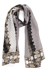 Vince Camuto Women's Floral Silk Scarf Grey