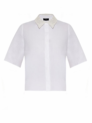 Joseph Brad Lace Collar Cotton Poplin Shirt