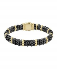 Lagos 9Mm 18K Gold And Black Caviar Bracelet