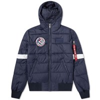 Alpha Industries Nasa Hooded Puffer Jacket Blue