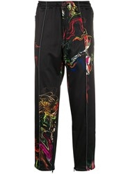 Y 3 Abstract Floral Print Track Pants Black