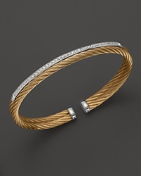Charriol Classique Collection Nautical Cable Bangle With Diamonds .19 Ct. T.W.