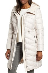 Marc New York Velvet Trim Quilted Coat Putty