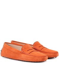 Tod's Gommino Suede Loafers Orange