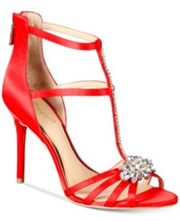 Jewel By Badgley Mischka Hazel Strappy Evening Sandals Women's Shoes Red