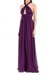 Leon Max Silk Mesh Chiffon Long Dress