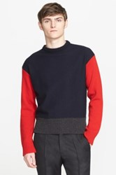Marni Colorblock Wool And Cashmere Sweater Red