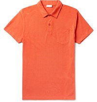 Sunspel Riviera Slim Fit Cotton Mesh Polo Shirt Orange