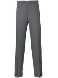 Canali Straight Trousers Men Wool 50 Grey
