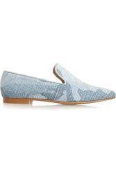Stella Mccartney Printed Canvas Loafers Blue