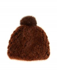 Pologeorgis Mink Fur Beanie Hat Brown