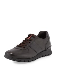 Prada Leather Running Sneaker Brown