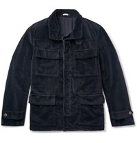 Massimo Alba Oversized Velvet Field Jacket Navy