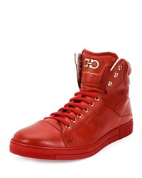 Salvatore Ferragamo Stephen 2 Lambskin High Top Sneaker Red