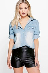 Boohoo Slim Fit Mid Wash Denim Shirt Blue