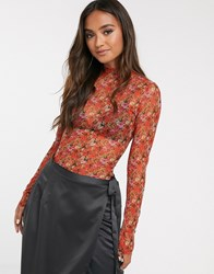 Finders Keepers Bel Air Mesh Layering Top In Garden Party Print Red