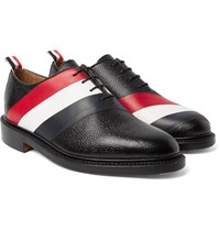Thom Browne Striped Pebble Grain Leather Oxford Shoes Black