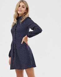 Qed London Button Through Spot Print Shirt Dress In Navy And White