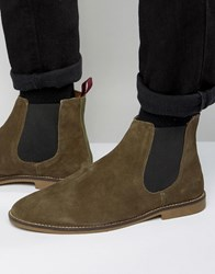 Kg By Kurt Geiger Kinross Chelsea Boots In Suede Green