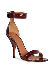 Givenchy Kali Line Croc Embossed Patent Leather Ankle Strap Sandals Burgundy