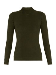 Courreges Ribbed Knit Wool Sweater Khaki