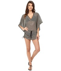 Luli Fama Desert Babe Cabana V Neck Dress Cover Up Black Women's Swimwear