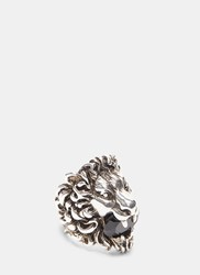 Gucci Lion Head Crystal Ring Silver
