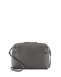 Intrecciato Messenger Bag Gray Bottega Veneta