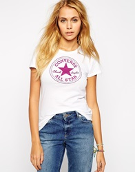 Converse Crew Neck Short Sleeve All Star Logo T Shirt White
