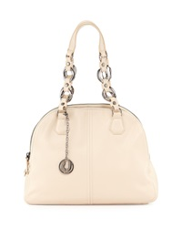 Charles Jourdan Flora Pebbled Leather Satchel Cream