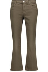J Brand Selena Mid Rise Cropped Bootcut Jeans Army Green