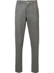 Brunello Cucinelli Brand Patch Tailored Trousers Grey