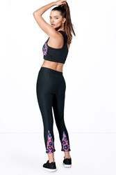 Boohoo Fit 3 4 Leopard Panel Print Legging Black