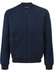 Z Zegna Zipped Bomber Jacket Blue