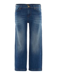 Lee Auberry Cropped Wide Leg Jean In Authentic Blue Denim Mid Wash