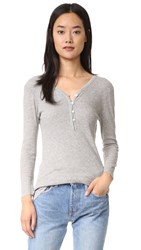 James Perse Rib Henley Top Heather Grey