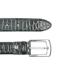 Manieri Men's Gray Croco Stamped Patent Leather Belt Blue Gray