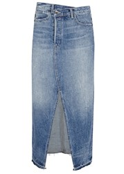 Helmut Lang Blue Faded Denim Maxi Skirt