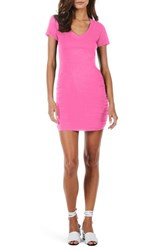 Michael Stars 'S Ruched V Neck Jersey Minidress Blinding Pink