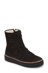 Blackstone Women's Ol26 Genuine Shearling Lined Lace Up Bootie Black Nubuck Leather