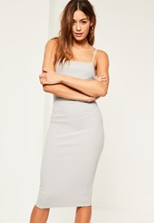 Missguided Grey Square Neck Midi Dress Ice Grey