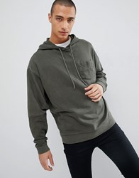 Asos Design Oversized Hoodie With Cut And Sew Sleeves In Khaki Vintage Wash Rifle Green