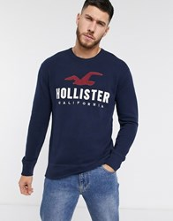 Hollister Tech Logo Crew Sweatshirt In Navy