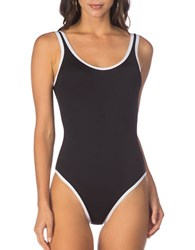 Kenneth Cole Reaction On The Edge One Piece Tank Bodysuit Black