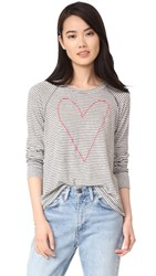 Sundry Heart Outline Open Side Tee White Charcoal Stripe