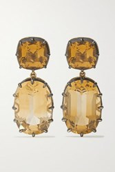 Fred Leighton Collection Sterling Silver Topped 18 Karat Gold Citrine Earrings