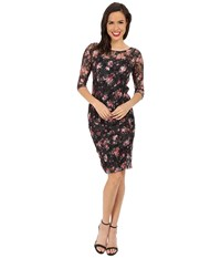 Unique Vintage Stretch Lace Raquel Wiggle Dress Black Floral Women's Dress Multi