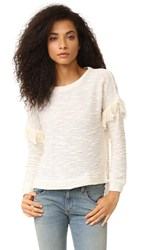 Maven West Alice Drop Shoulder Fringe Sweater Cream