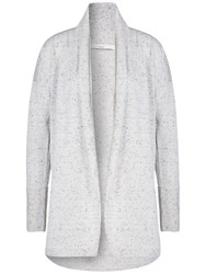 Oui Fine Knit Tweed Effect Cardigan Light Grey
